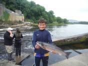 Jack Mc Quaid with his Salmon weighing 5.61lb caught on the worm